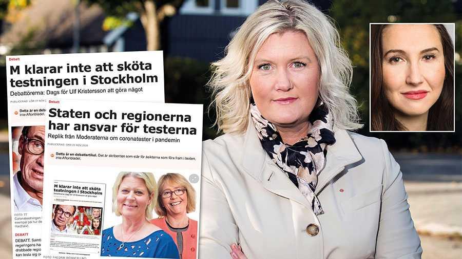 Det är inte bara vi i S utan också vårdpersonalen som slår larm i Stockholmregionen. Som tycker att det är dags att ni moderater tar ansvar för er egen politik. Slutreplik om coronatesterna från Lena Rådström Baastad och Aida Hadžialić.