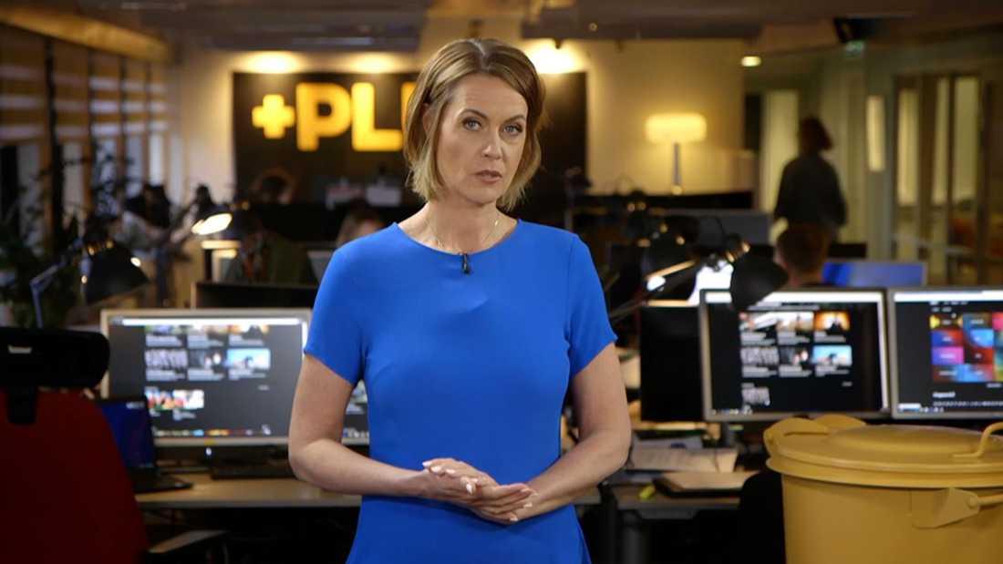 """Inger Ljung Olsson, nuvarande programledare för  """"Plus""""."""