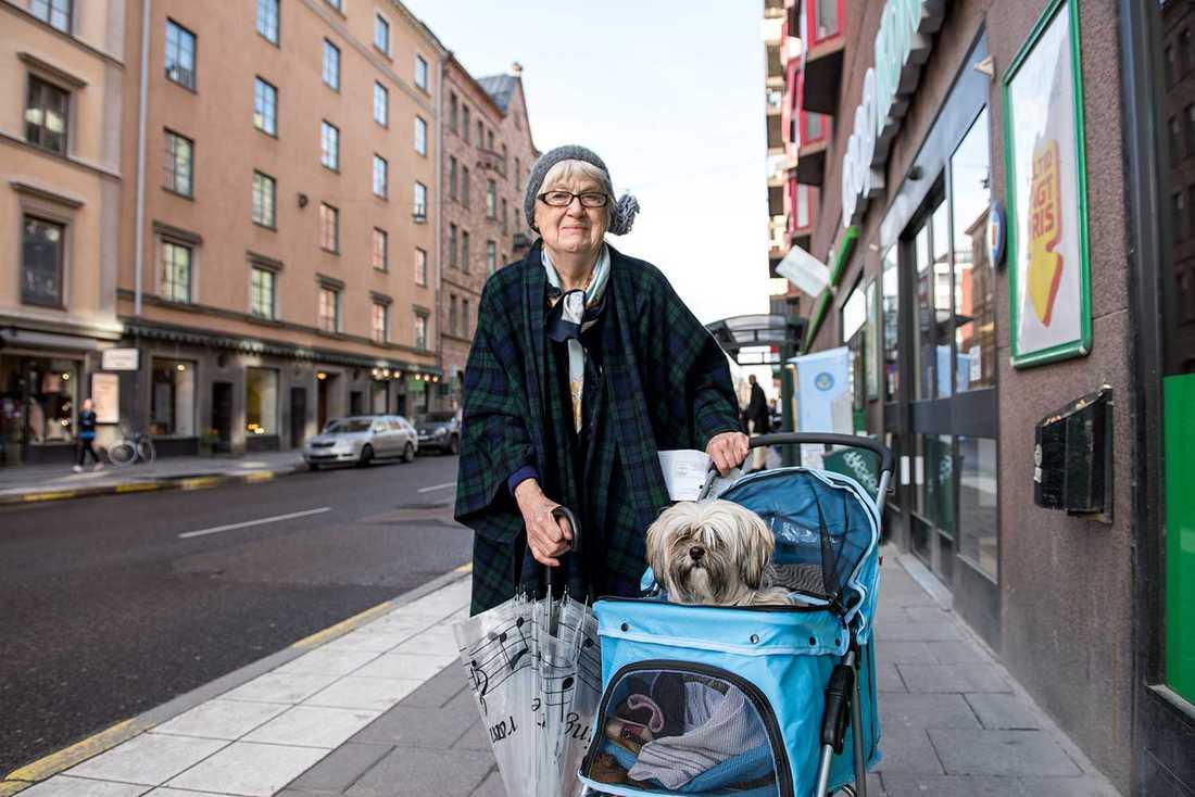 """""""Det är okunniga människor som bor här. Jag skulle aldrig rösta på M"""", säger Ingrid Hedenstierna, här med tibetanska tempelhunden Maja."""