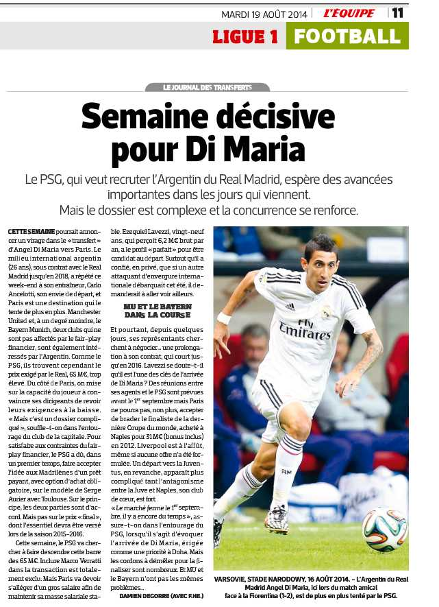 L'Equipes papperstidning i dag, tisdag.