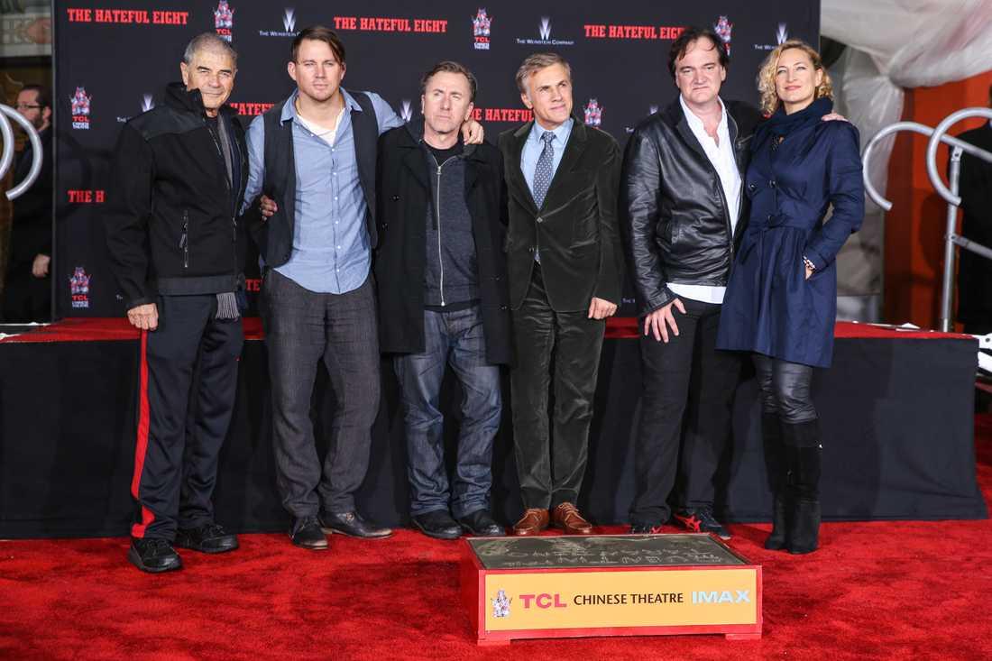 Robert Forster, från vänster, med Channing Tatum, Tim Roth, Christoph Waltz, Quentin Tarantino och Zoe Bell vid ett event för att uppmärksamma regissören Quentin Tarantino.