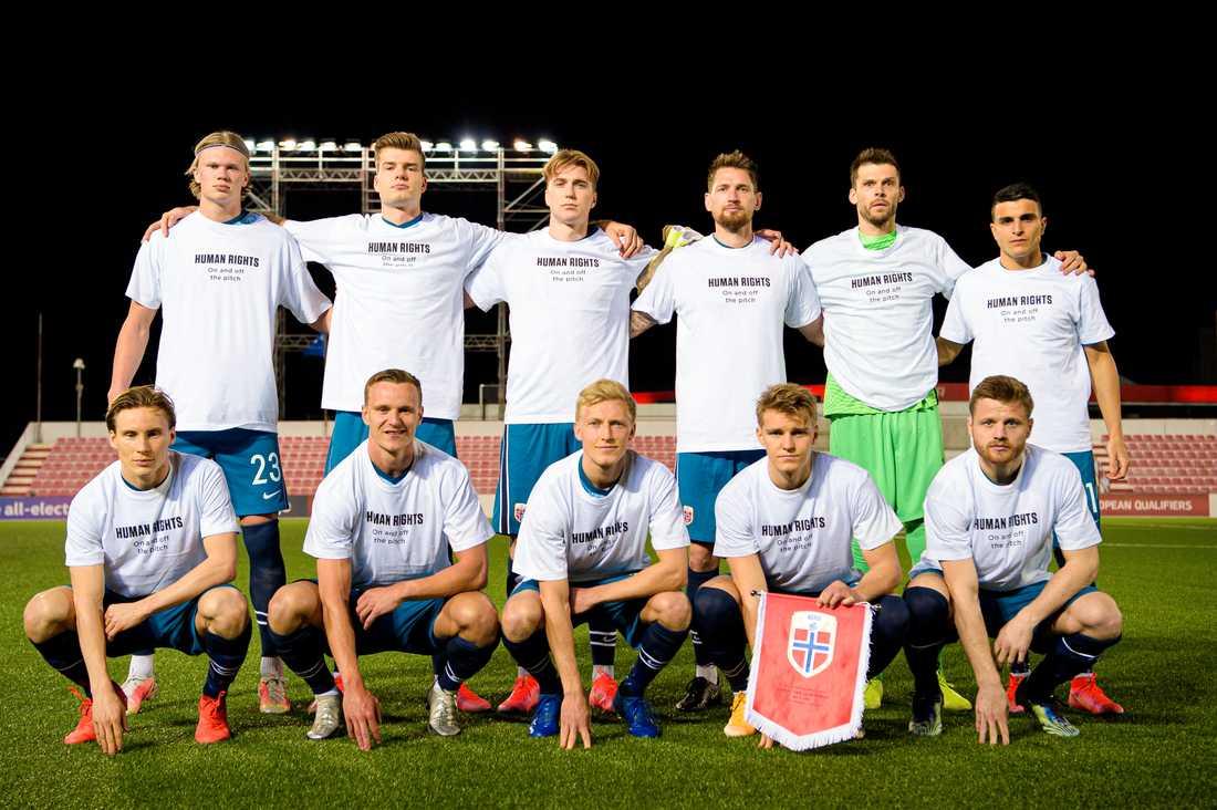 Norska landslaget inför VM-kvalmatchen mot Gibraltar under onsdagskvällen