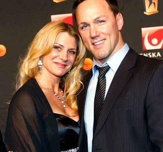 Martin Lidberg och nyblivna hustrun Catharina Wettermark på Idrottsgalan tidigare i år.