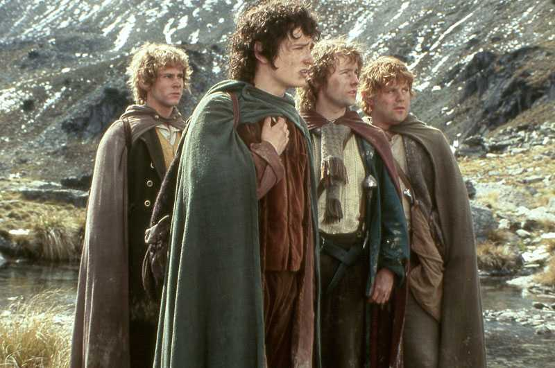 The Lord of the Rings trilogy (2001–03) med Dominic Monaghan, Elijah Wood, Billy Boyd och Sean Astin.
