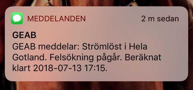 Sms som gått ut till boende på Gotland.