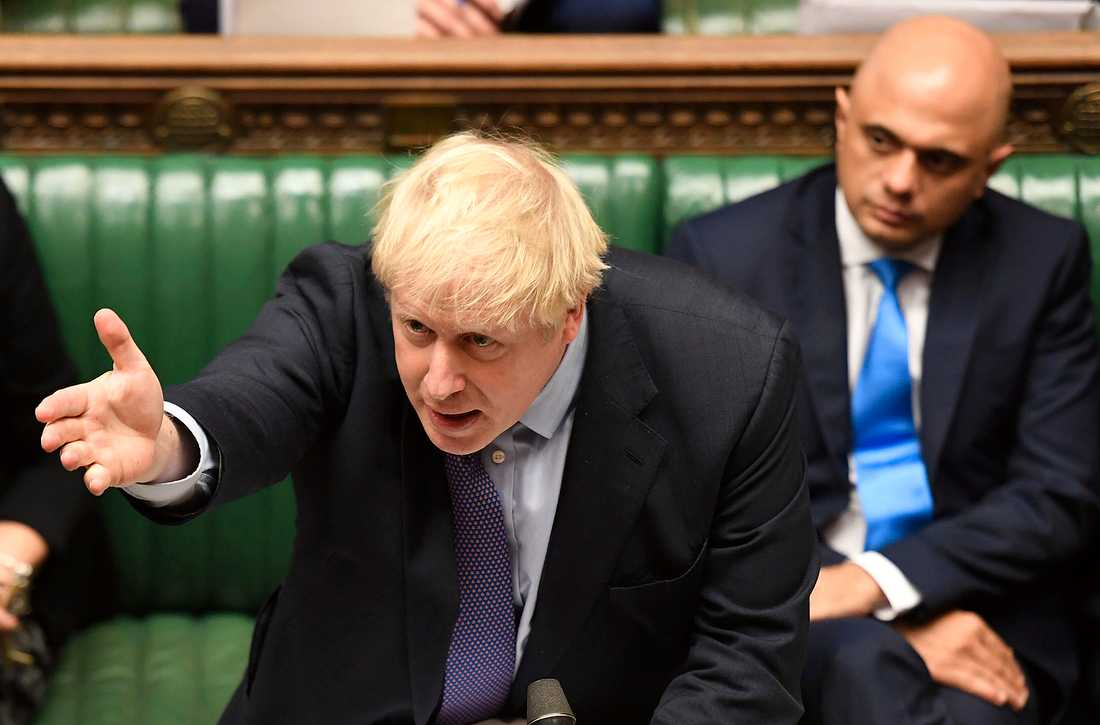 Premiärminister Boris Johnson i ett, som det skulle visa sig, fåfängt försök att övertyga parlamentets underhus att direkt acceptera hans nya brexitavtal med EU. Arkivbild.