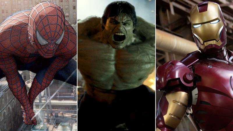 Stan Lees skapelser – Spider-Man, The incredible Hulk och Iron Man.