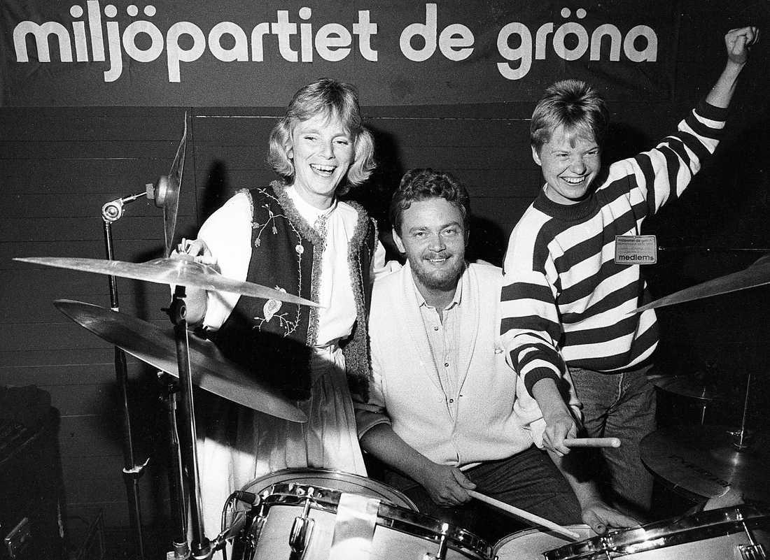 Språkröra Eva Goes, Birger Schlaug och Åsa Domeij höll i taktpinnen när Miljöpartiet kom in i riksdagen 1988. Foto: Roony Johansson