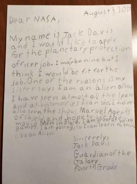 Jack skrev ett brev till NASA och berättade varför han skulle få jobbet.