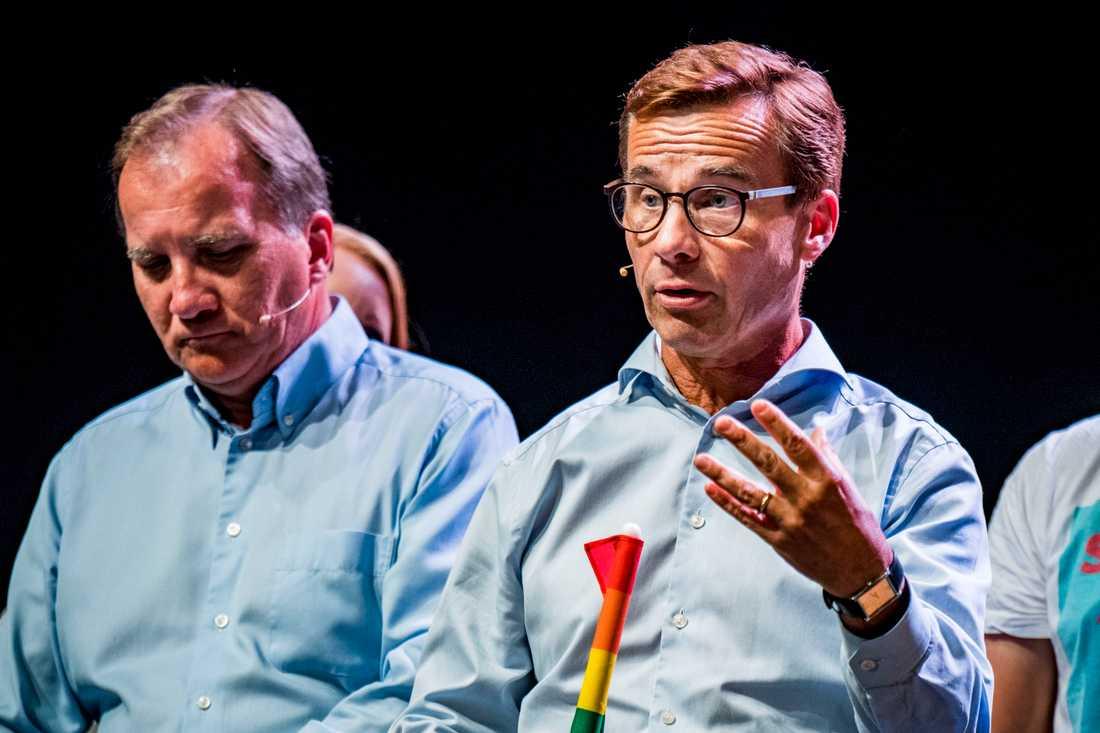 Stefan Löfven (S) och Ulf Kristersson (M) under en debatt.