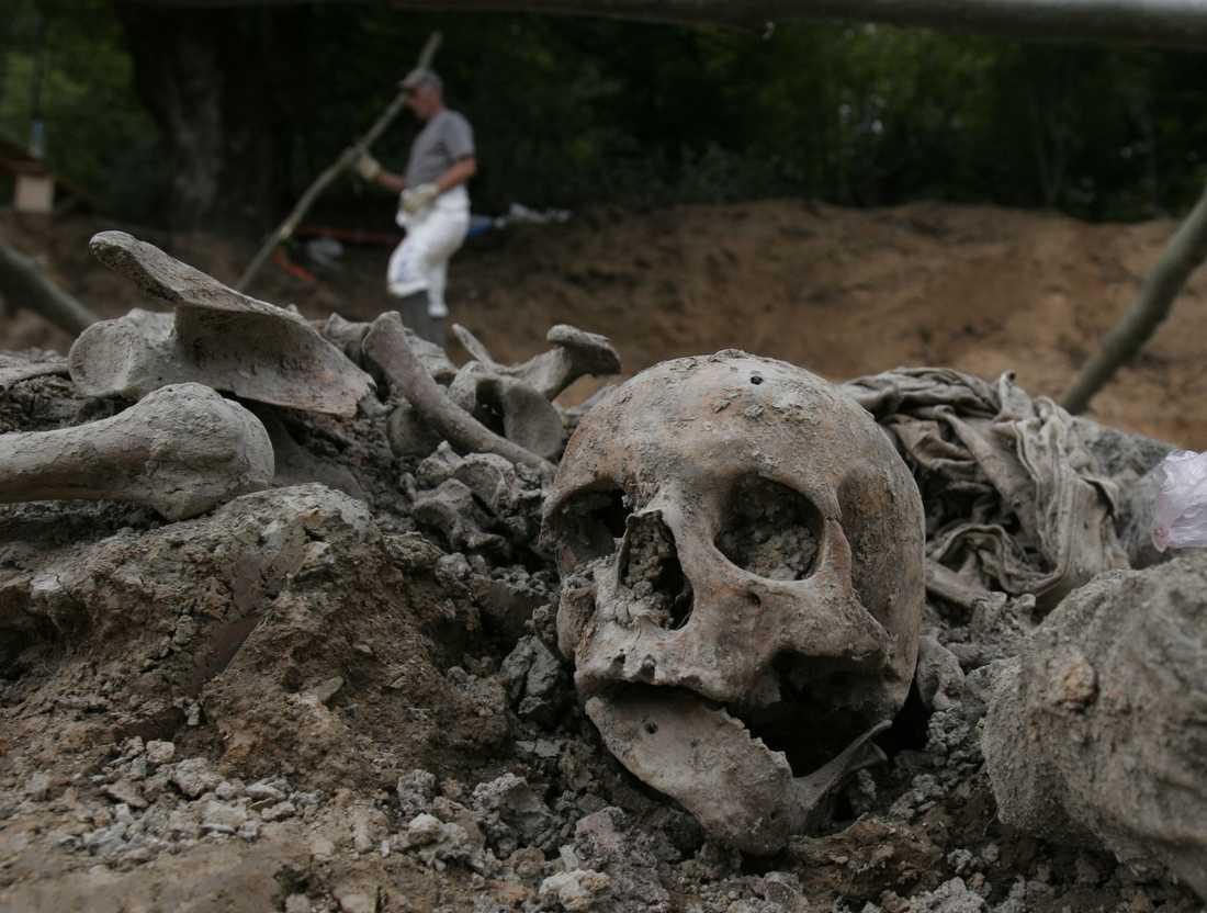En av massgravarna som hittats efter massakern i Srebrenica. Arkivbild.
