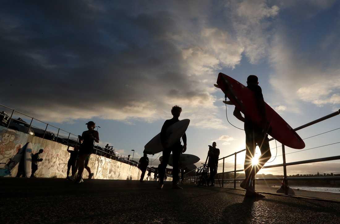 Surfare får åter ge sig ut i vågorna vid populära Bondi Beach i Sydney. Arkivbild.