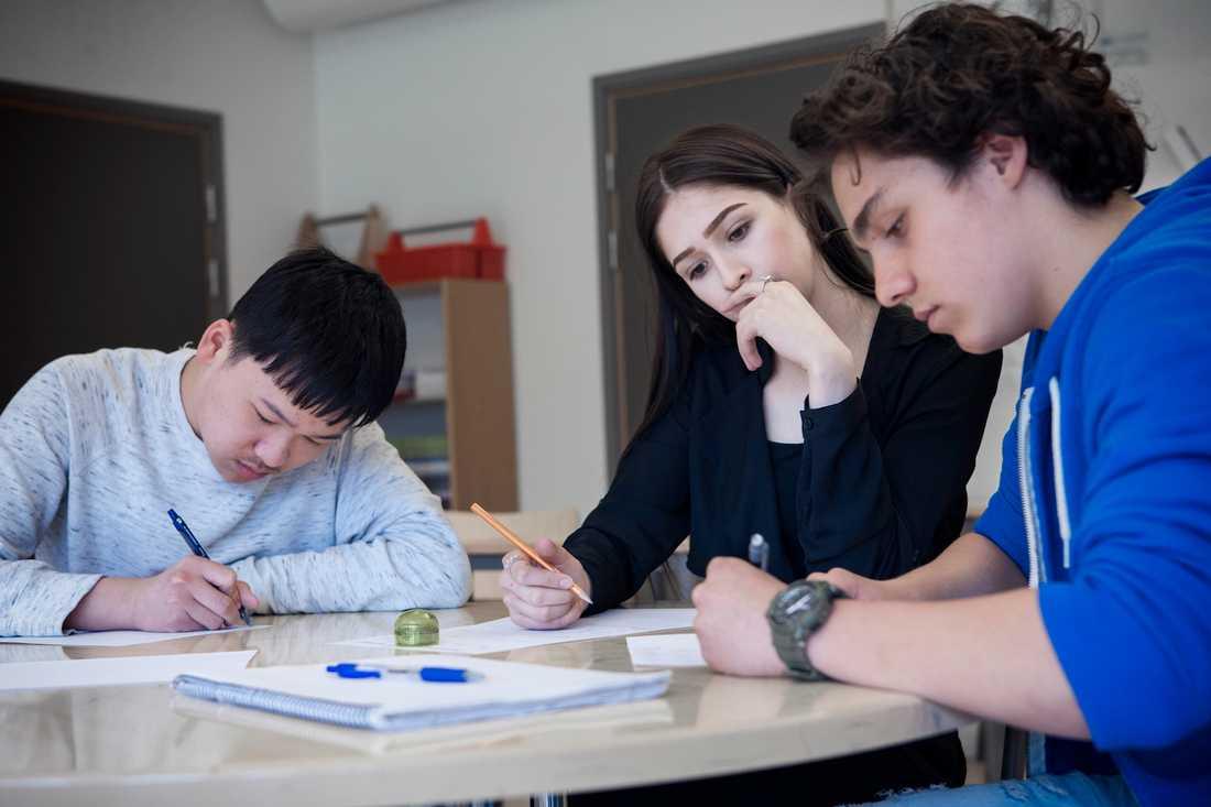 Kimbery Cartes, 19, har kommit tillbaka till skolan för att lära ut matte på loven, bland annat till  Mingwei Huang och Hamsa Jasarevic som är bland de 30 bästa niorna i landet. Foto: JONAS ENG
