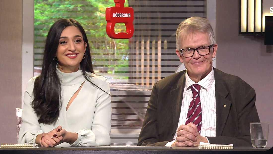 """Parisa Amiri och Gunnar Wetterberg, vinnare av """"På spåret"""" 2020 på rekordhöga 48 poäng."""