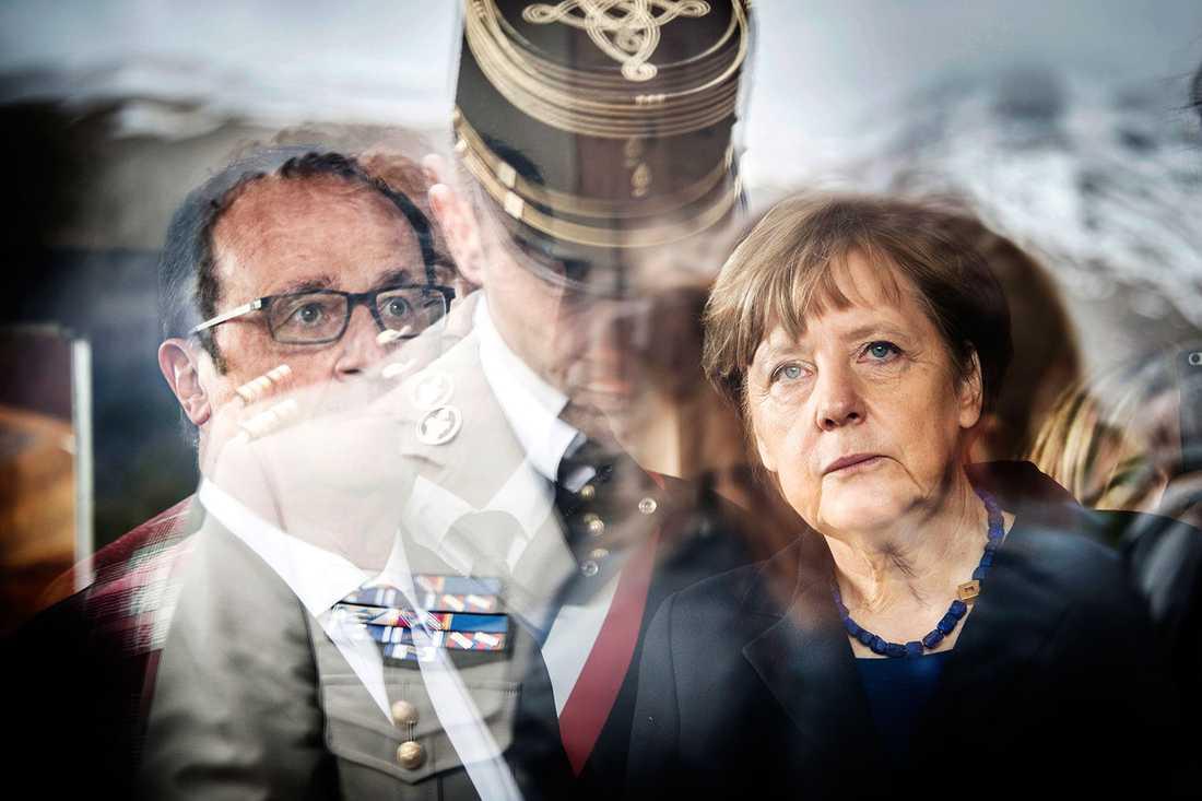 Francios Hollande och Angela Merkel besöker Vernet.
