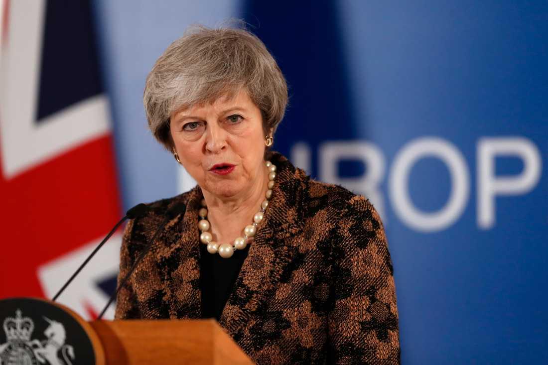 Storbritanniens premiärminister Theresa May står inför ännu en viktig brexitomröstning i det brittiska parlamentet. Arkivbild.