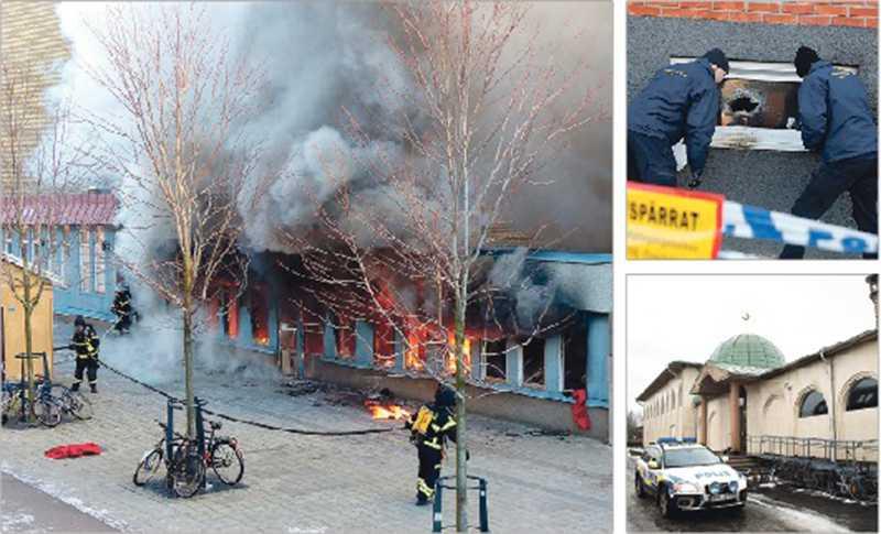 TRE BRÄNDER PÅ EN VECKA Moskén i Uppsala (lilla bilden nere till höger) utsattses för ett brandattentat under nyårsnatten. Även moskén i Eskilstuna (stora bilden) och moskén i Eslöv har brunnit den senaste veckan.