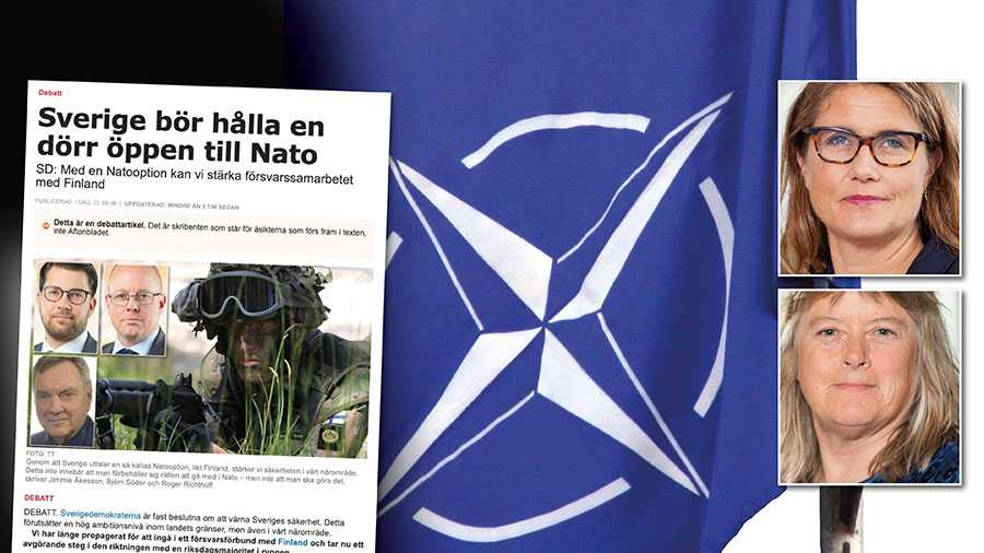 SD tycks ha hittat ett sätt att jämka sig med borgarna i Nato-frågan. Kanske inte så konstigt, men från och med nu för de för sina väljare bakom ljuset och talar med kluven tunga om Nato, skriver Janine Alm Ericson och Elisabeth Falkhaven.