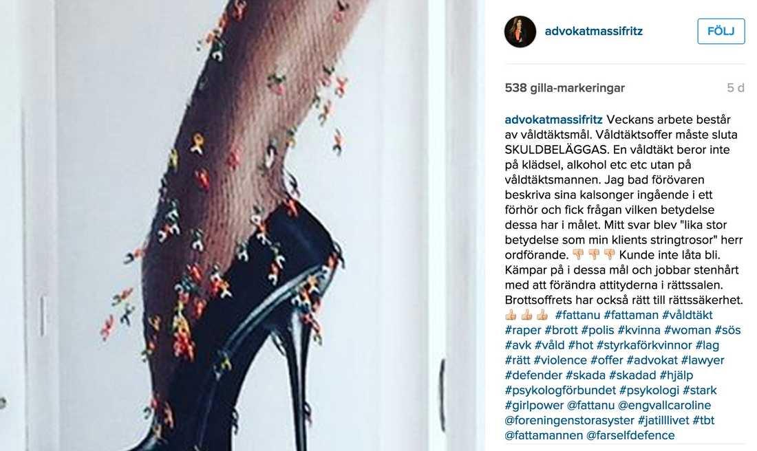 Inlägget på Massi Fritz Instagram.