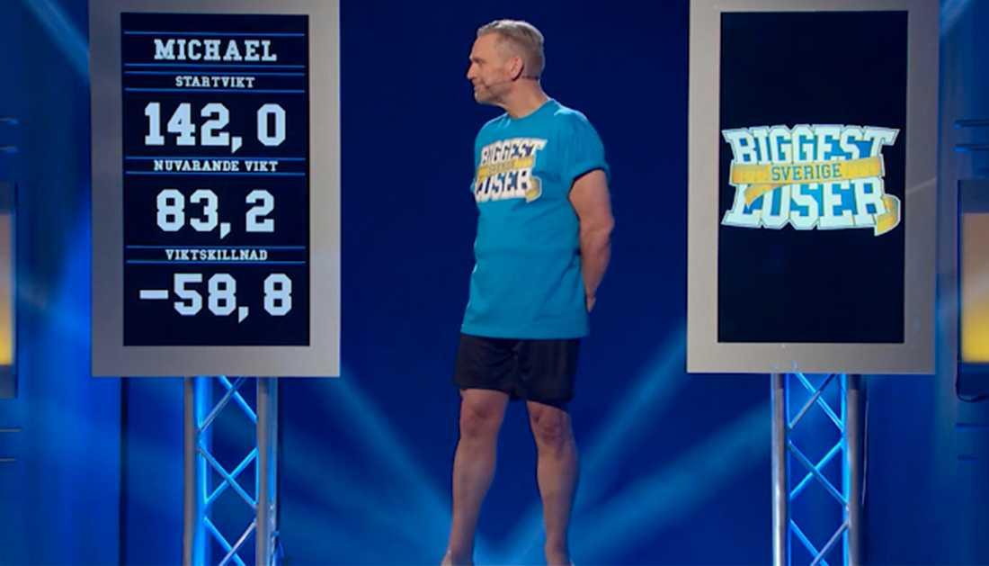 """Michael gick totalt ner 58,8 kilo under """"Biggest loser""""."""
