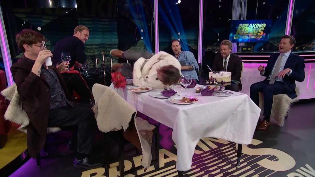 "Skadan skedde i ""Breaking News"" med Filip och Fredrik."