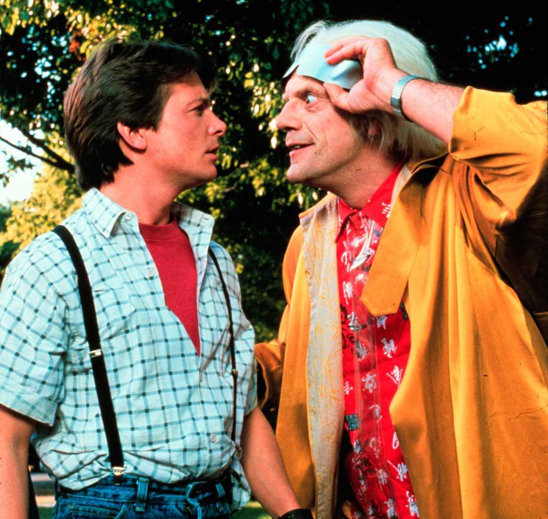 """Michael J. Fox och Christopher Lloyd i """"Tillbaka till framtiden 2""""."""
