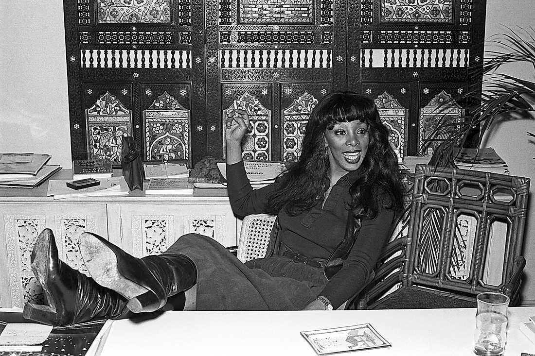 Donna Summer 1978 när hon stod på toppen av sin karriär. Mellan 1975 och 2008 hade hon 19 listettor.