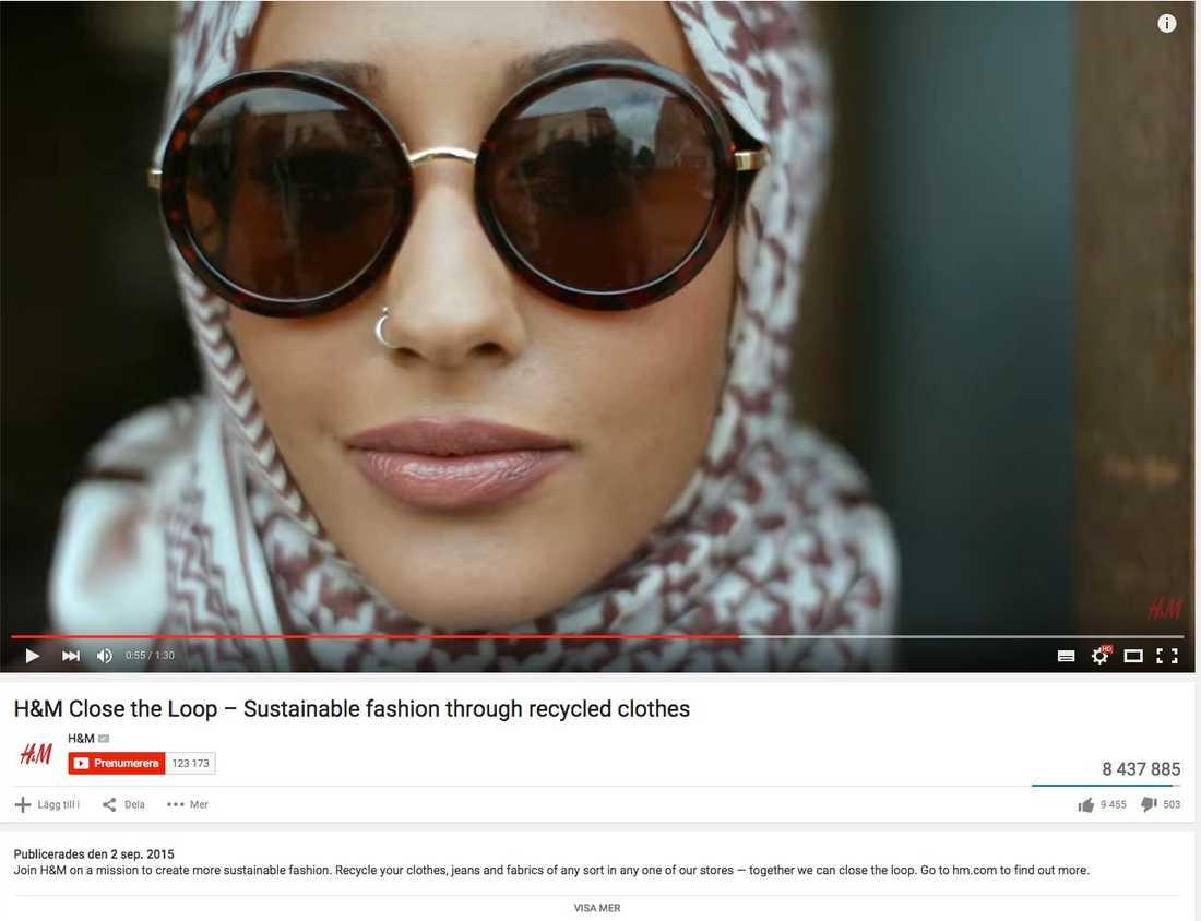 Skärmdump från H&M:s omdebatterade reklamfilm.