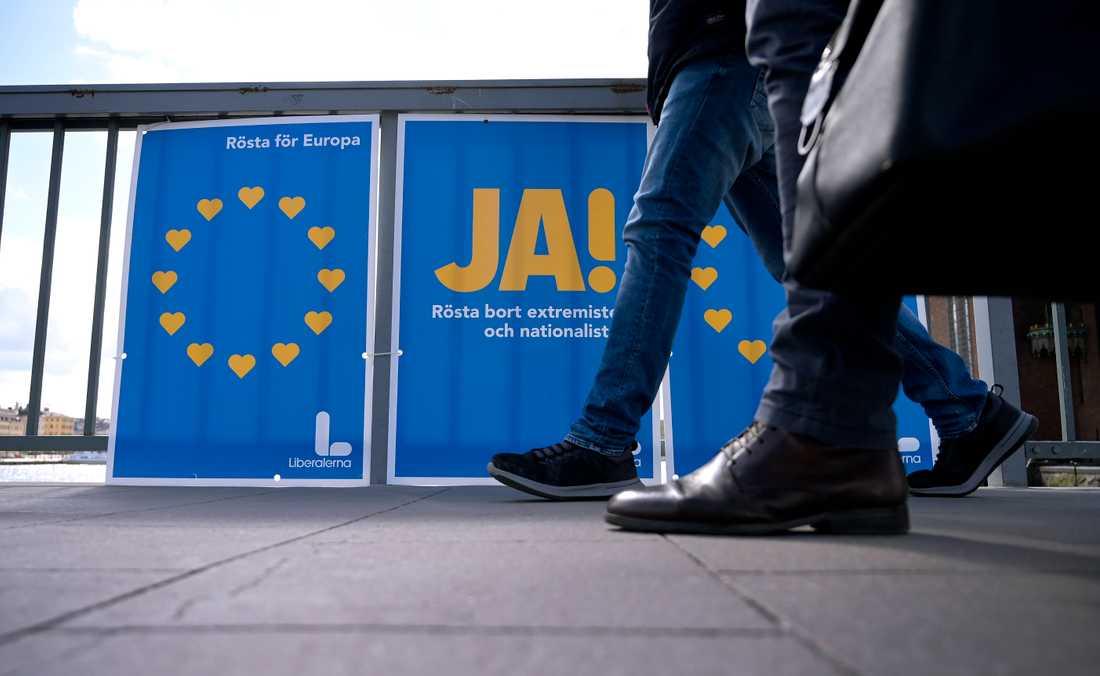 Partiernas valaffischer inför Europaparlamentsvalet 2019.