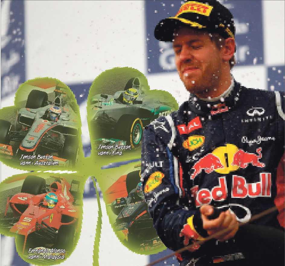 FJÄRDE VINNAREN Fjärde vinnaren Sebastian Vettel vann i Bahrain, och blev därmed den fjärde segraren på de fyra inledande loppen.