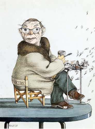 Jean-Paul Sartre 1905-1980. Teckning: PERICOLI