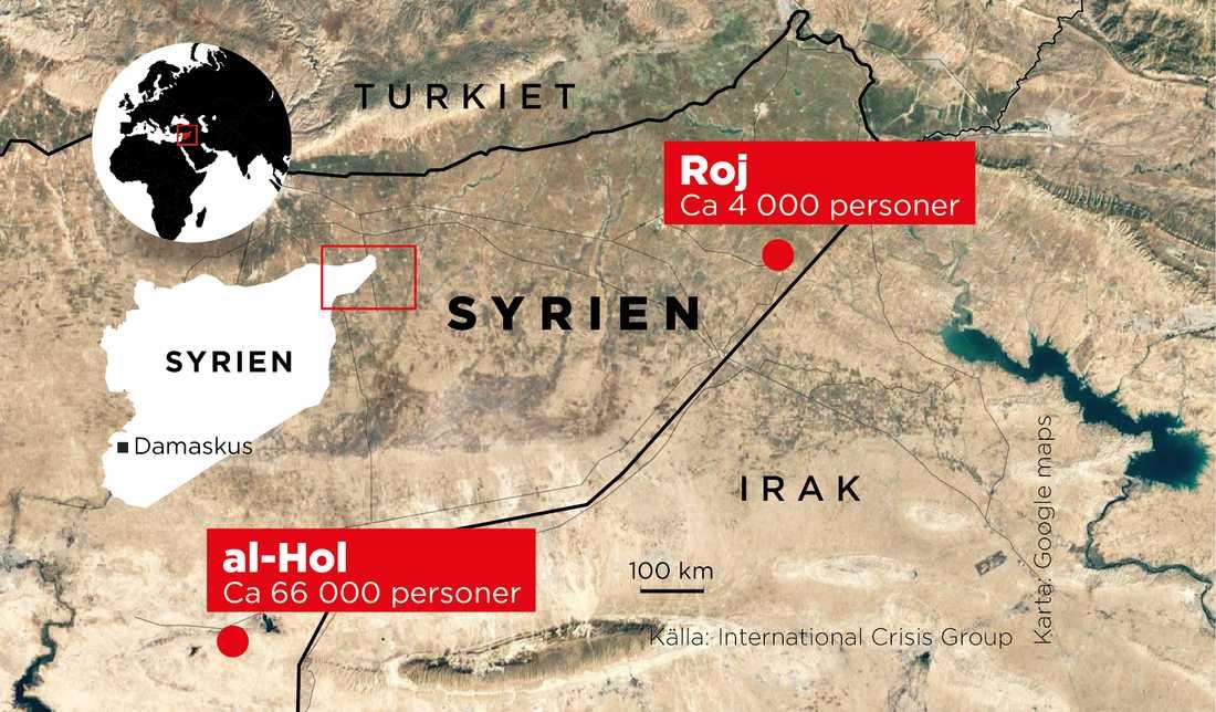 Lägren al-Hol och Roj ligger i nordöstra Syrien.