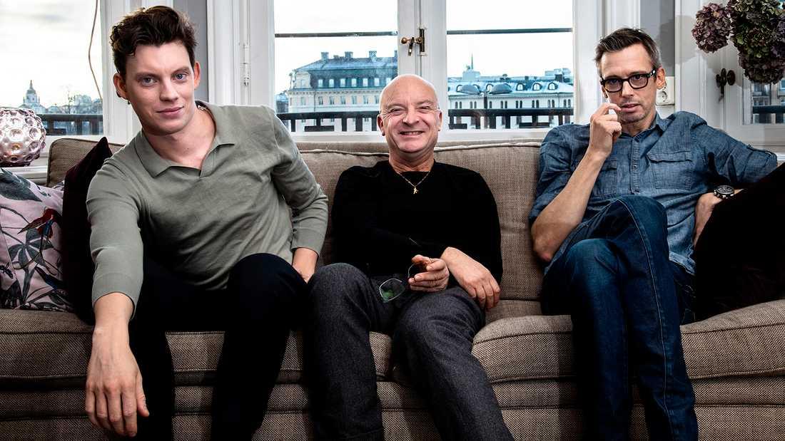 Rasmus Luthander, Jonas Gardell och Simon Kaijser.