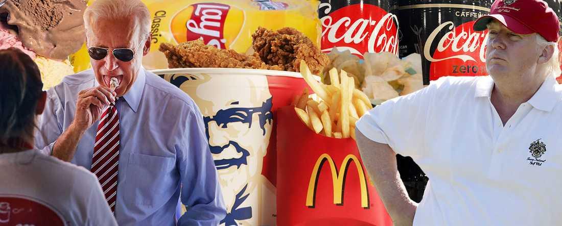 """Klassisk amerikansk """"skräpmat"""" står högt i kurs hos båda kandidaterna i det amerikanska presidentvalet. Sittande president har en förkärlek för McDonalds och Coca-cola medan utmanaren Biden älskar glass."""
