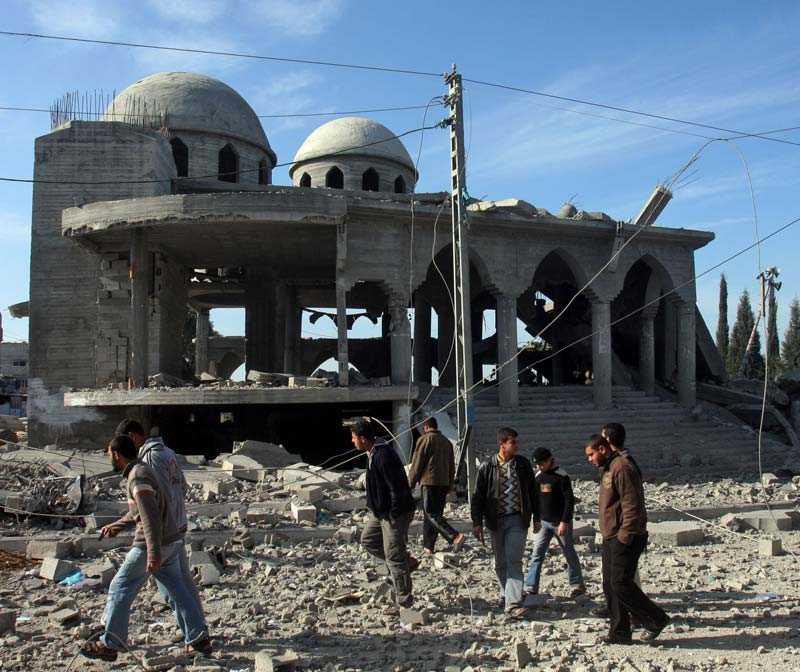 Den förstörda moskén i Beit Hanoun, en stad i nordöstra Gaza.