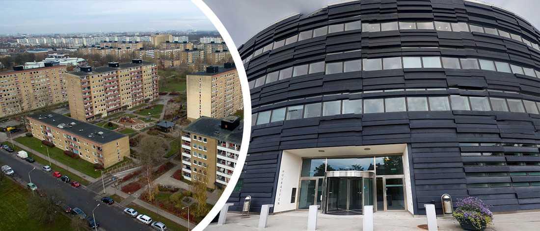 Till vänster Rosengård, en av stadsdelarna i Malmö där det misstänks förekomma mängder av svarthandel med hyresrätter.  Till höger domstolsbyggnaden i Malmö där bland annat Hyresrätten har lokaler. Inte ett enda fall av svarthandel med lägenheter i Malmö har gått till åtal.