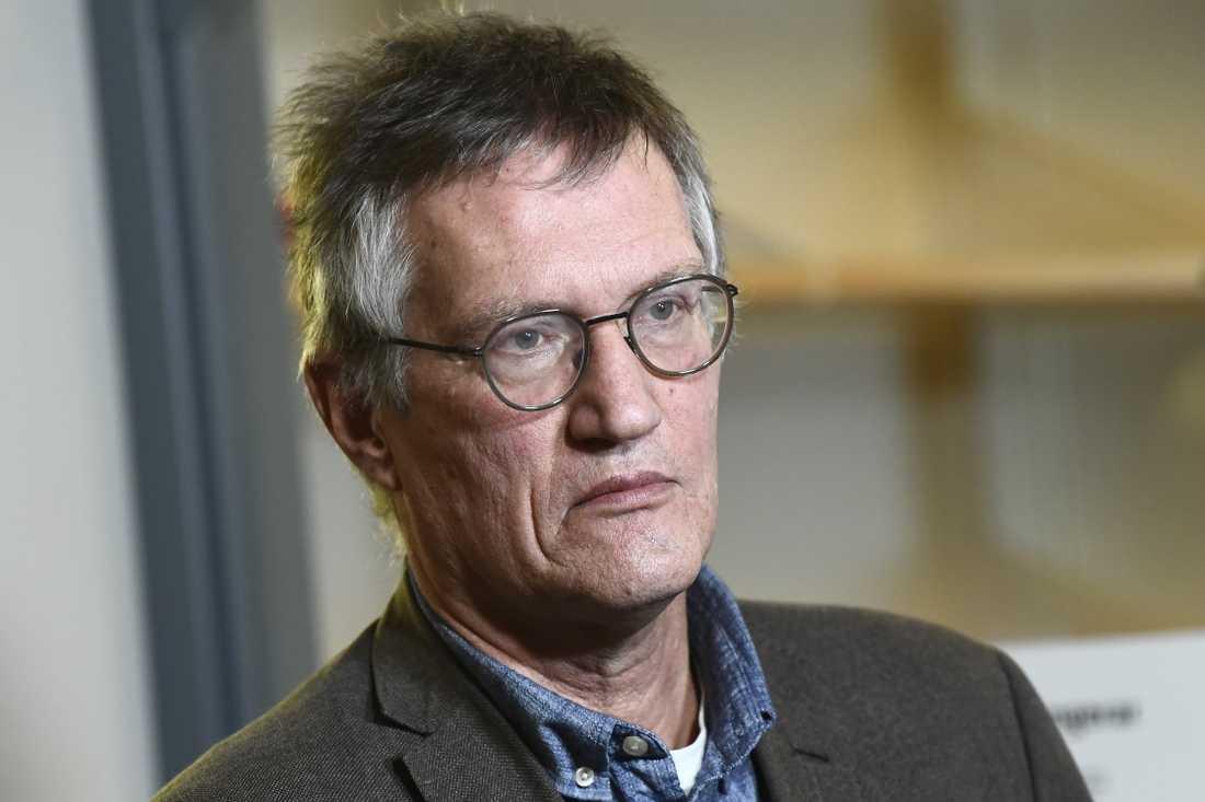 Statsepidemiolog Anders Tegnell under onsdagens pressträff med Folkhälsomyndigheten och Socialstyrelsen om coronaviruset.