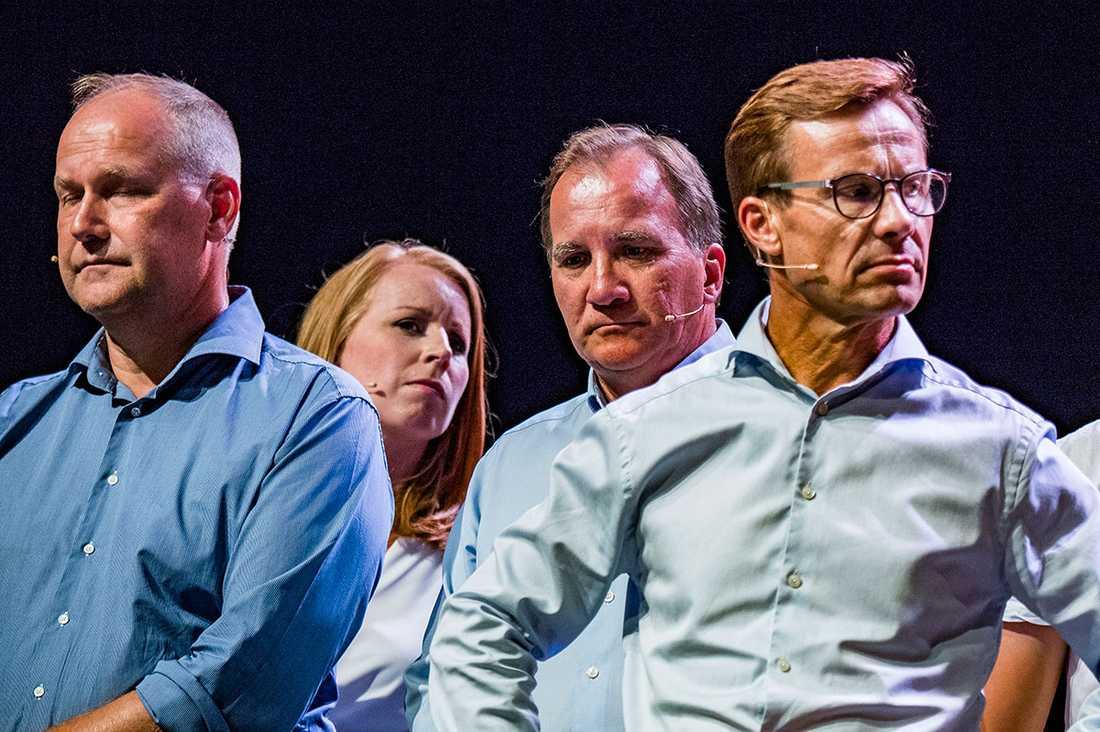 Jonas Sjöstedt, Annie Lööf, Stefan Löfven och Ulf Kristersson – fyra av dagens huvudpersoner.