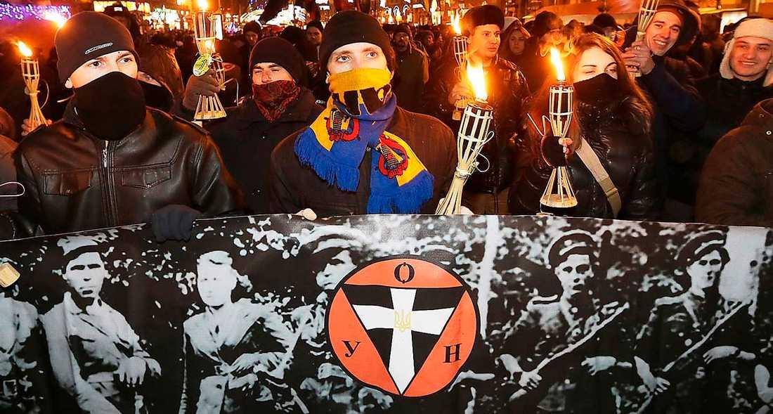 Nationalister hyllar den ukrainska milis som enligt ukrainsk lag var frihetskämpar. I grannlandet Polen ska det däremot bli förbjudet att förneka milisens inblandning i judeutrotningen och slakten av 10000 polacker i Volynien.