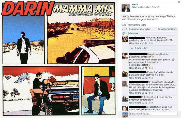 """Det kritiserade omslaget till """"Mamma mia""""."""