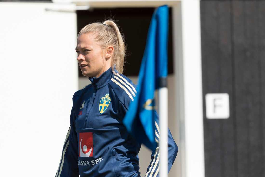 Fridolina Rolfö har tränat på egen hand under under landslagslägret i Båstad.