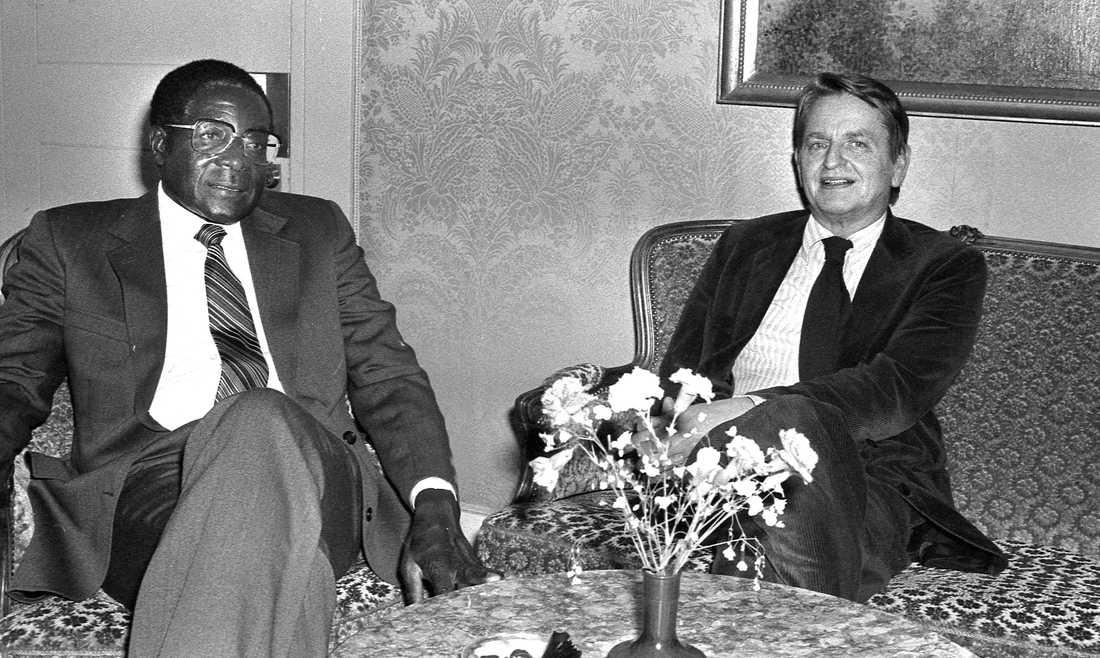 Robert Mugabe och Olof Palme 1981.