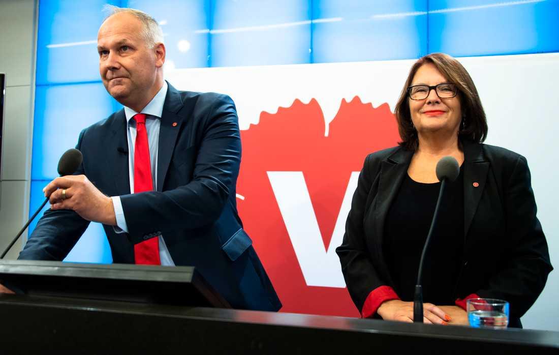 Jonas Sjöstedt och Lotta Johnsson Fornarve, Vänsterpartiet.