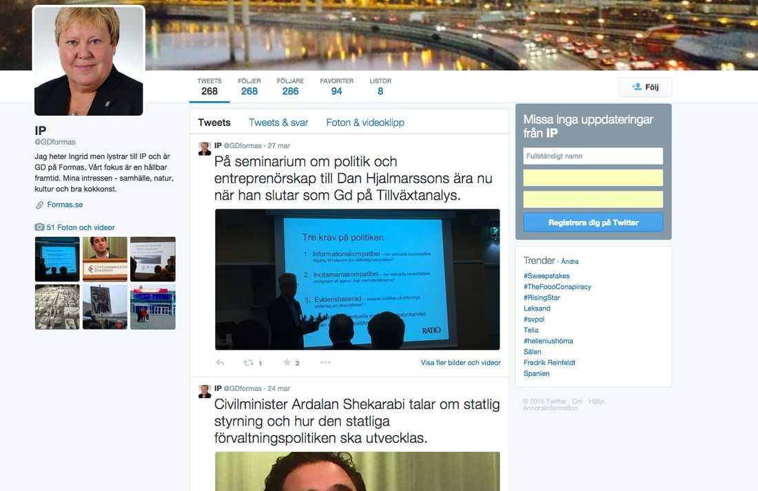 Bild från Ingrid Peterssons Twitterkonto. Petersson är generaldirektör på Forskningsrådet.