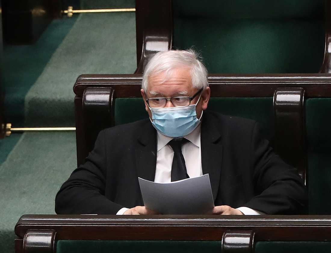 PIS partiledare Jaroslaw Kaczynski i polska parlamentet, sejmen, på onsdagen.