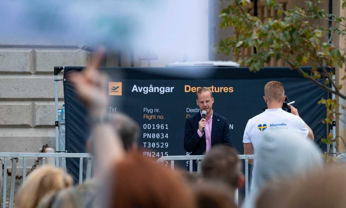Alternativ för Sverige under ett torgmöte på Stortorget i Malmö.
