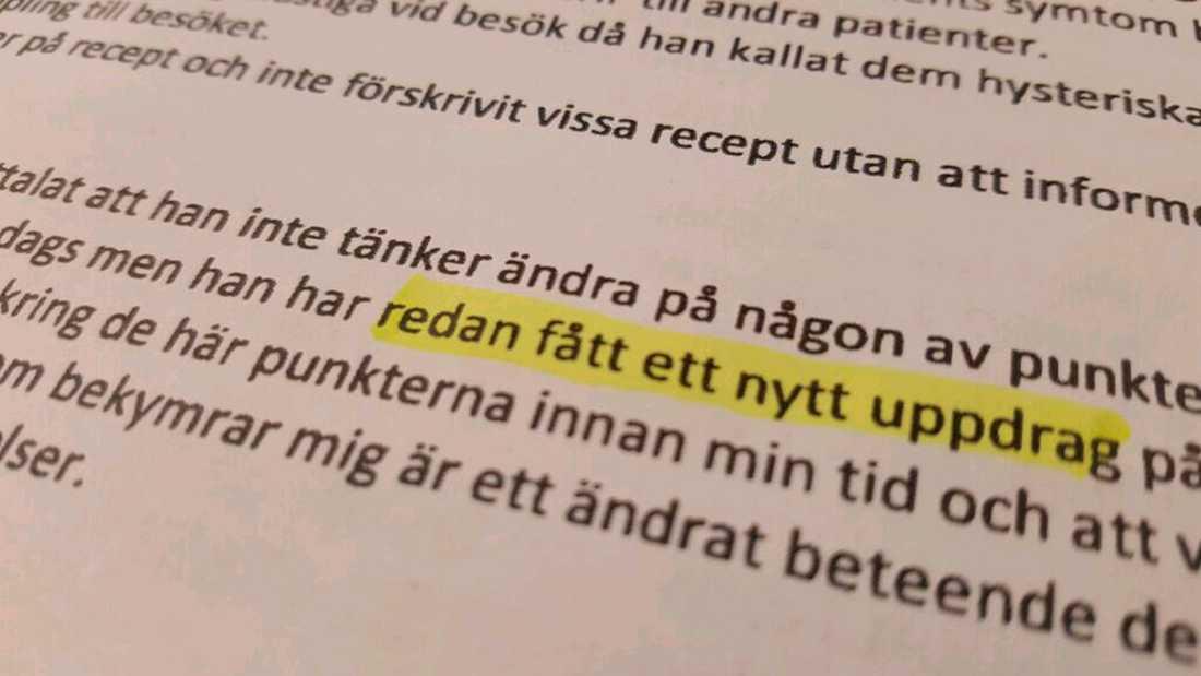 Delar av Region Skånes anmälan av läkaren.