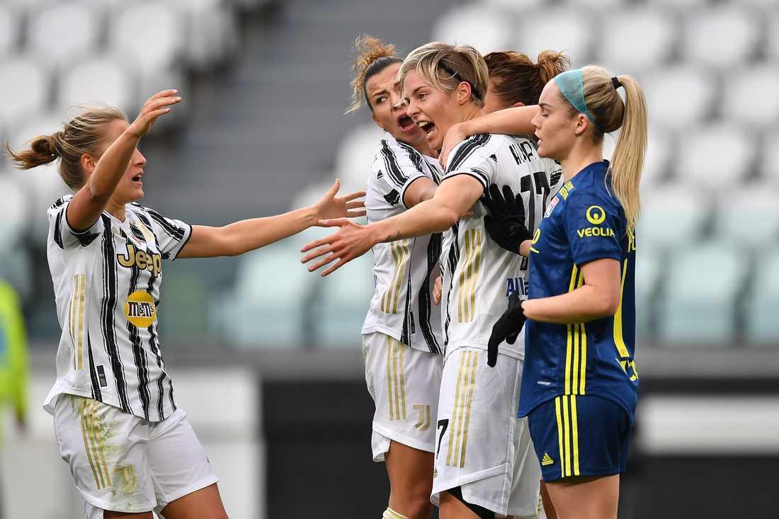 Linda Sembrant och Lina Hurtig (bilden) blev båda målskyttar när Juventus tog tionde raka segern. Arkivbild.