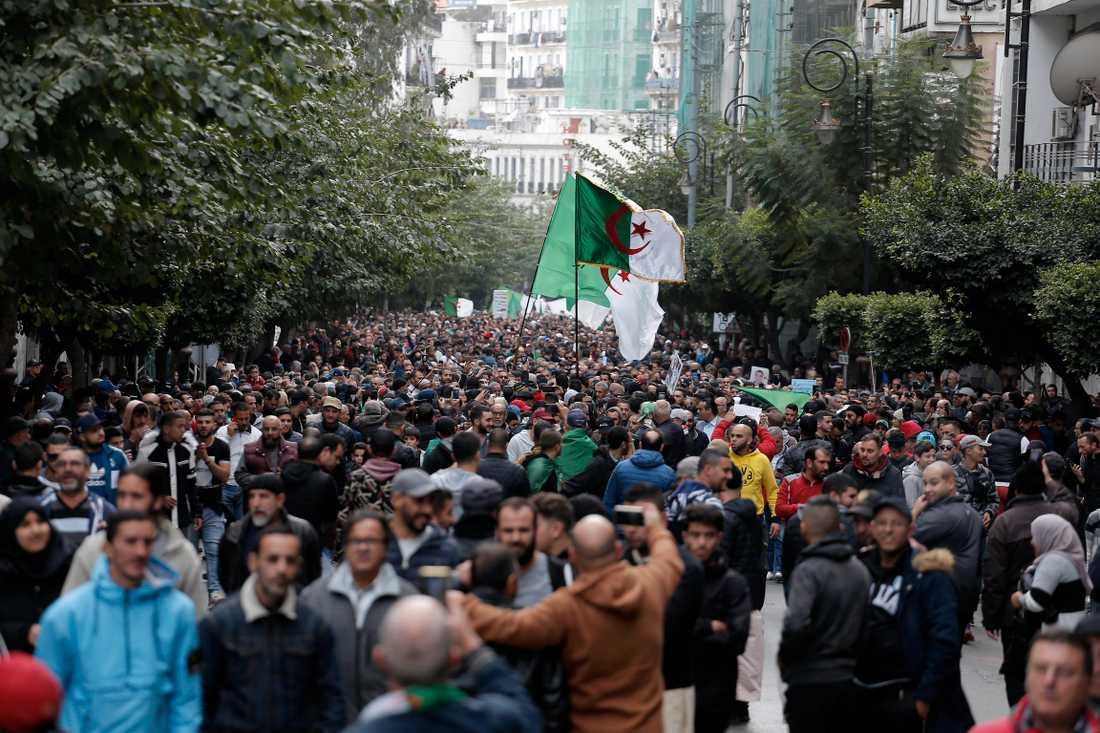 Demonstranter protesterar mot den tillträdande presidenten Abdelmadjid Tebboune i Algeriets huvudstad Alger.