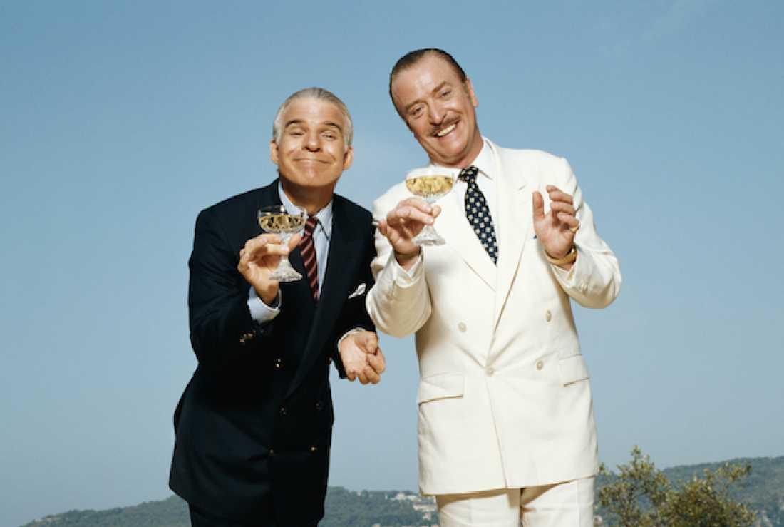 "Steve Martin och Michael Caine i ""Rivierans guldgossar"" (1988)."
